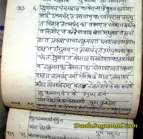 Indian Genealogy Script keswani family, rohri
